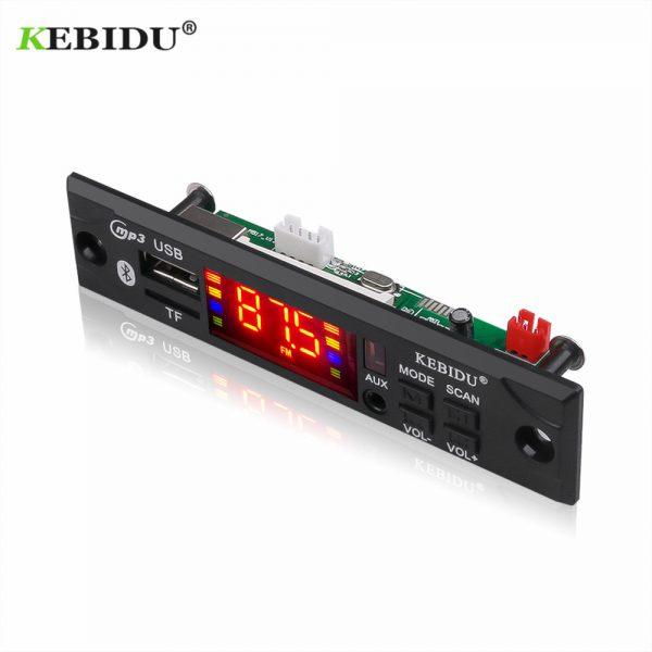 Kebidu Car Audio USB TF FM Radio Module Wireless Bluetooth 5V 12V MP3 WMA Decoder Board MP3 Player with Remote Control For Car