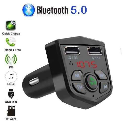 KEBIDU Car Bluetooth 5.0 Handsfree Calling Wireless FM Transmitter LCD MP3 Player USB Charger