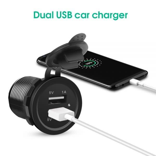 KEBIDU Car Charger Universal Cigarette Lighter USB Vehicle DC12V-32V Waterproof Dual USB Charger