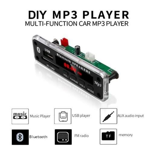 KEBIDU Wireless Bluetooth 5V 12V MP3 WMA Decoder Board Audio For Car