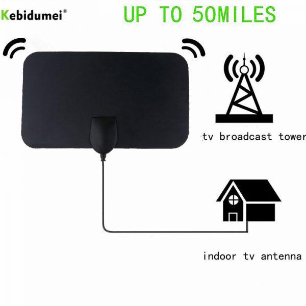 kebidu TV Signal Receiver Indoor HD Signal Amplifier Digital TV Antenna HDTV 4K 50 Miles Range